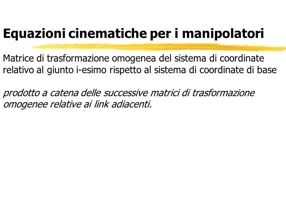 Equazioni cinematiche per i manipolatori