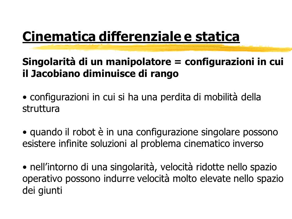 Cinematica differenziale e statica