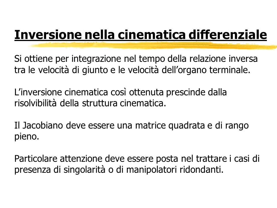 Inversione nella cinematica differenziale