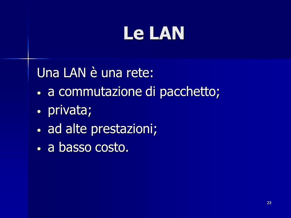 Le LAN Una LAN è una rete: a commutazione di pacchetto; privata;