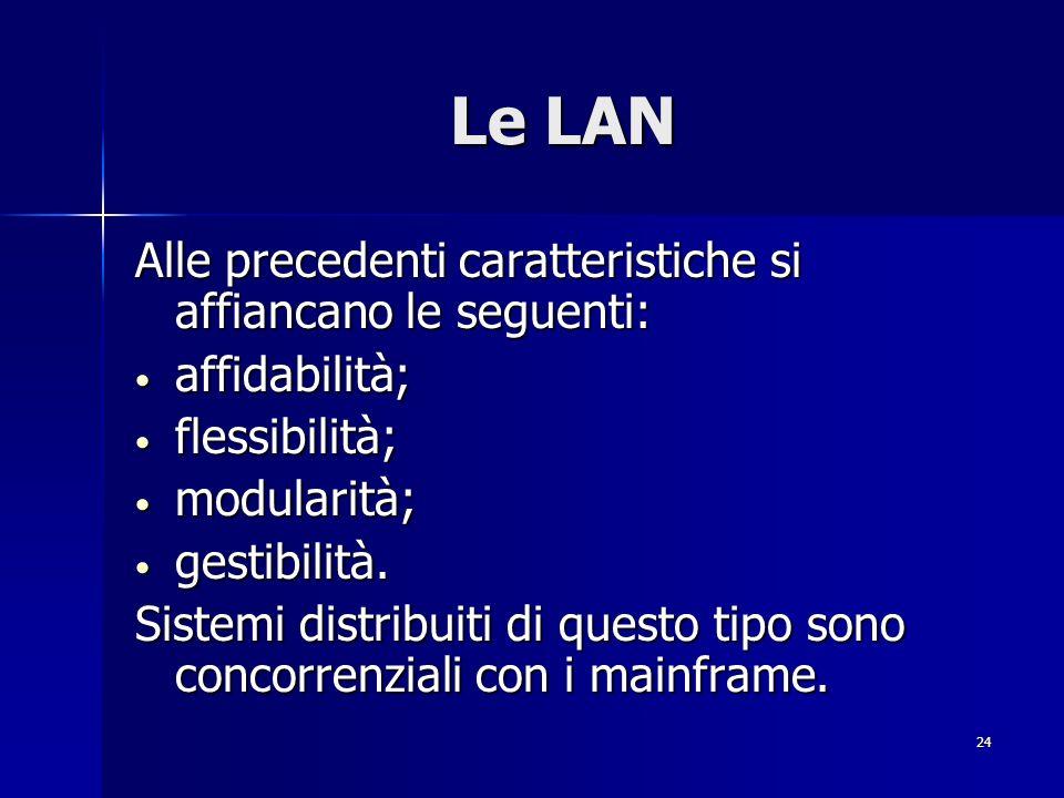 Le LAN Alle precedenti caratteristiche si affiancano le seguenti: