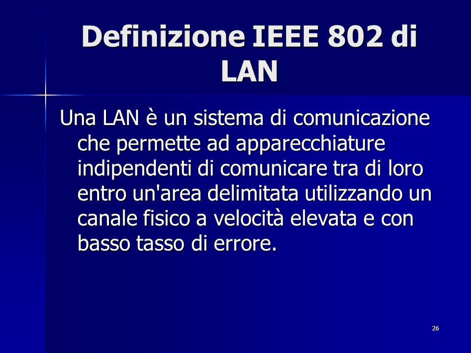 Definizione IEEE 802 di LAN