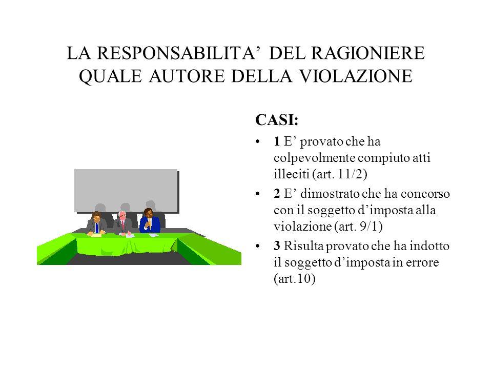 LA RESPONSABILITA' DEL RAGIONIERE QUALE AUTORE DELLA VIOLAZIONE