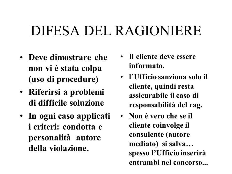 DIFESA DEL RAGIONIERE Deve dimostrare che non vi è stata colpa (uso di procedure) Riferirsi a problemi di difficile soluzione.