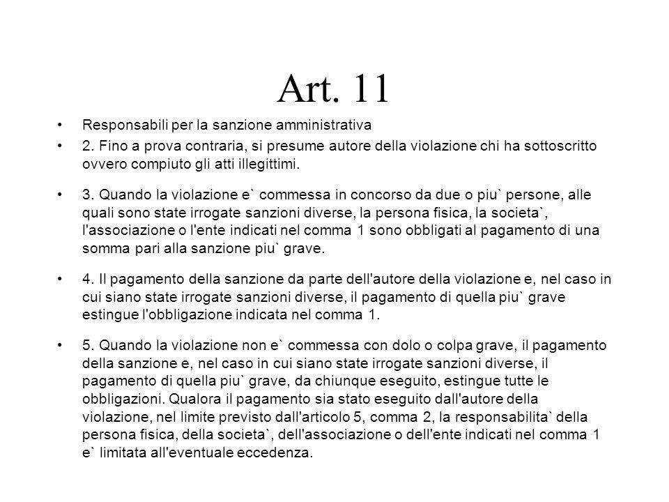 Art. 11 Responsabili per la sanzione amministrativa