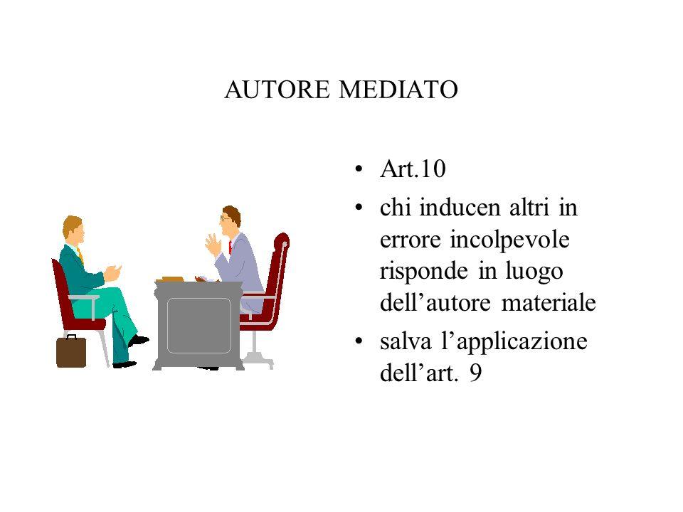 AUTORE MEDIATO Art.10. chi inducen altri in errore incolpevole risponde in luogo dell'autore materiale.