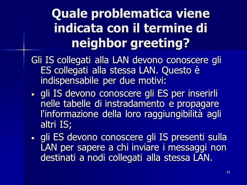 Quale problematica viene indicata con il termine di neighbor greeting