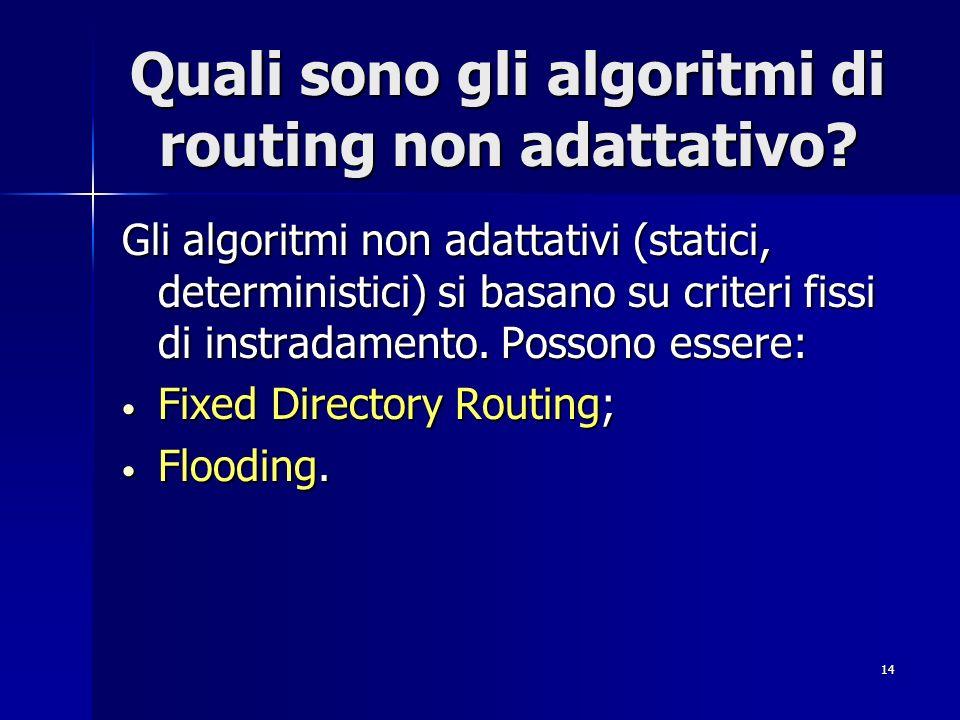 Quali sono gli algoritmi di routing non adattativo