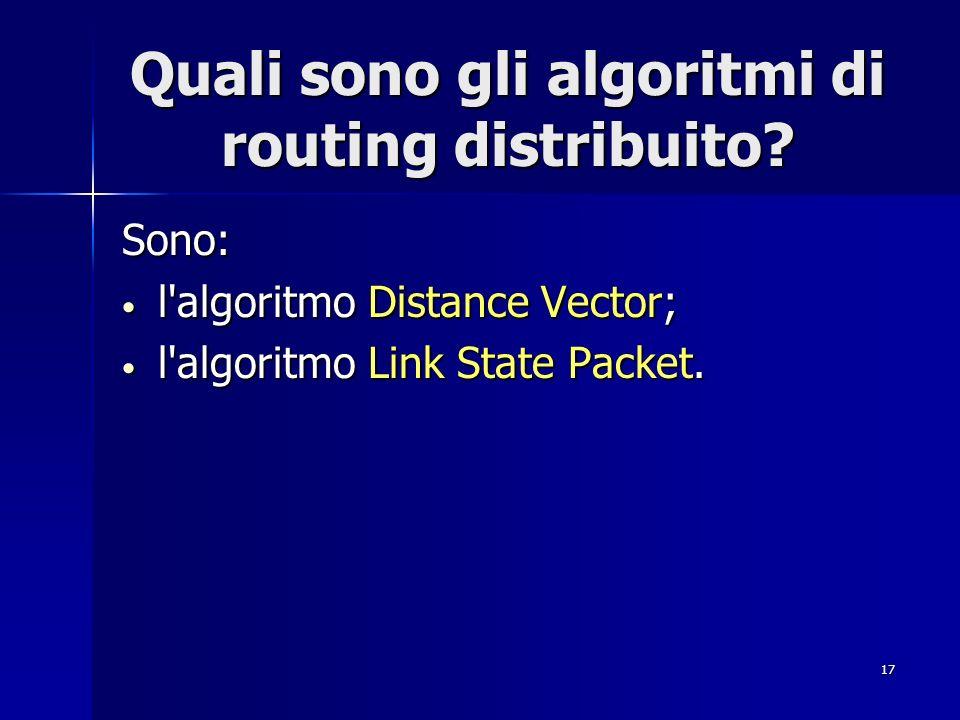 Quali sono gli algoritmi di routing distribuito