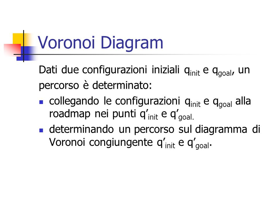 Voronoi Diagram Dati due configurazioni iniziali qinit e qgoal, un