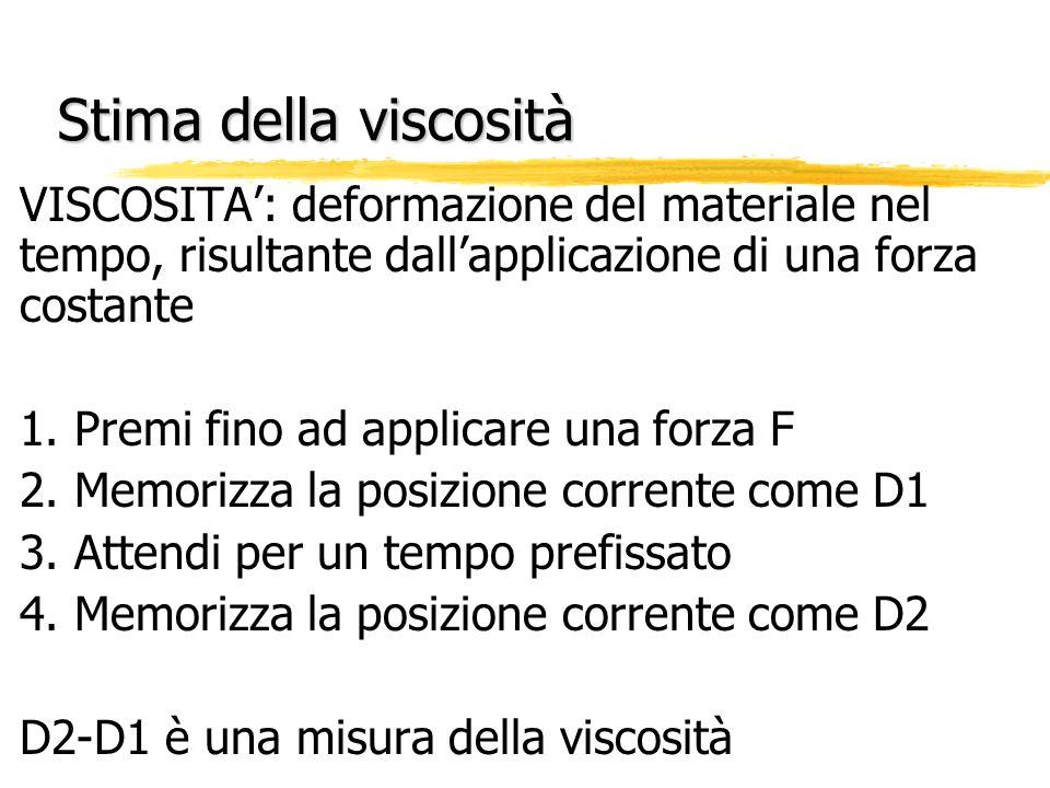 Stima della viscosità VISCOSITA': deformazione del materiale nel tempo, risultante dall'applicazione di una forza costante.