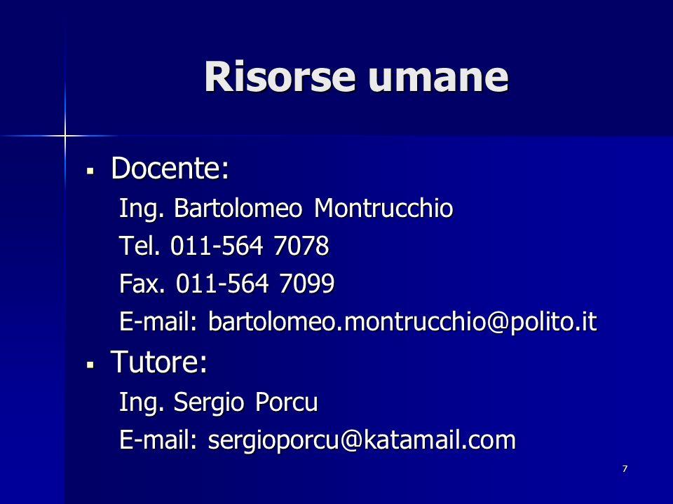 Risorse umane Docente: Tutore: Ing. Bartolomeo Montrucchio