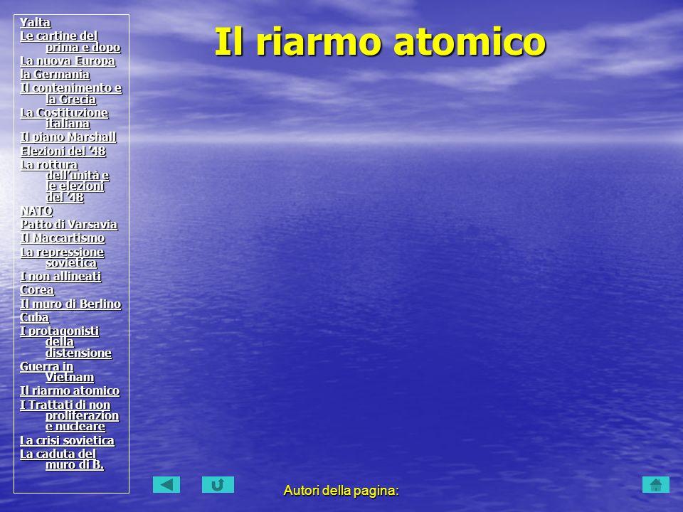 Il riarmo atomico Autori della pagina: Yalta