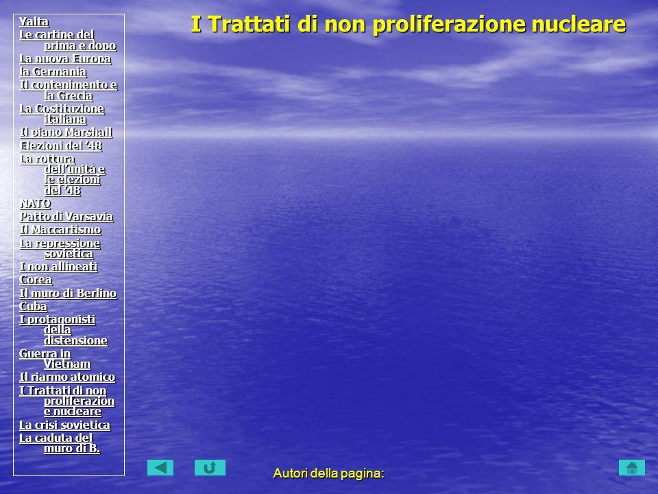 I Trattati di non proliferazione nucleare