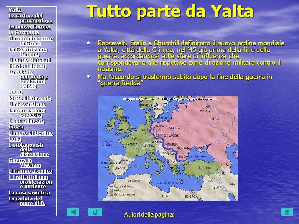 Yalta Le cartine del prima e dopo. La nuova Europa. la Germania. Il contenimento e la Grecia. La Costituzione italiana.