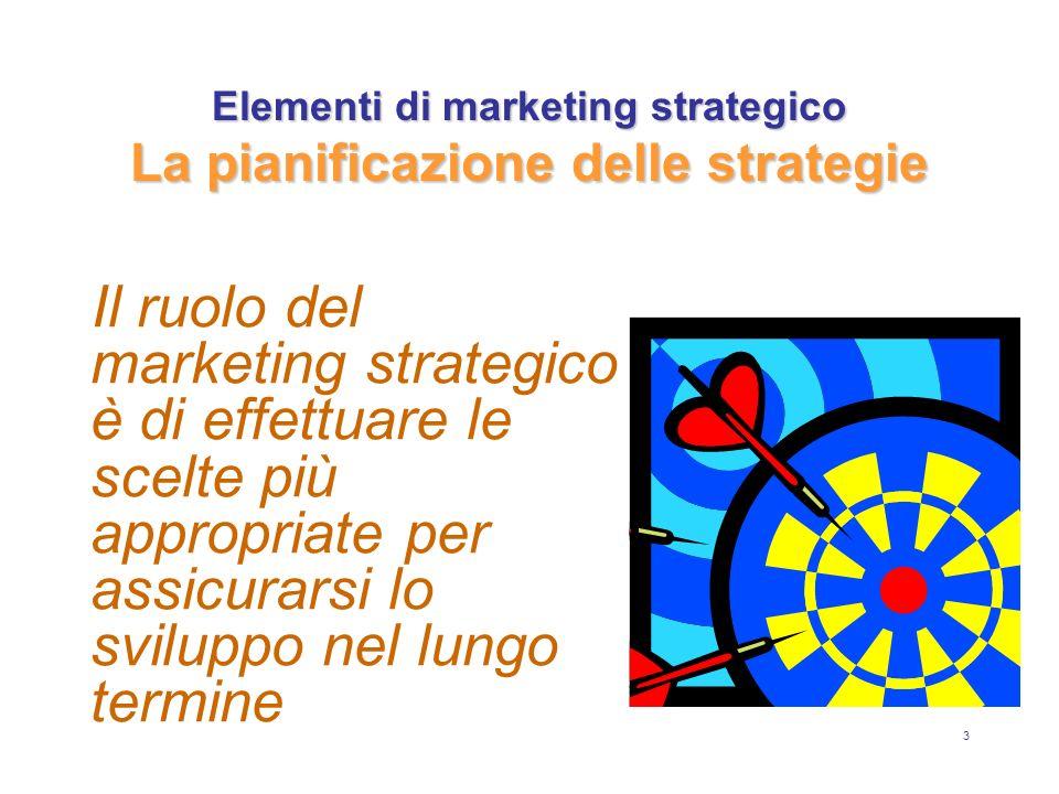 Elementi di marketing strategico La pianificazione delle strategie