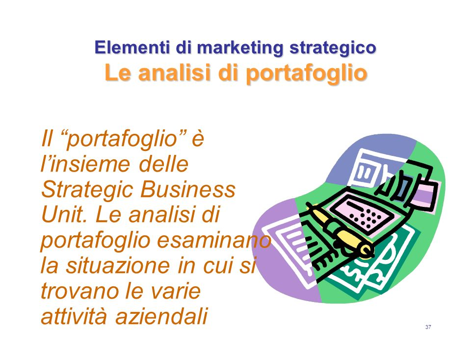 Elementi di marketing strategico Le analisi di portafoglio