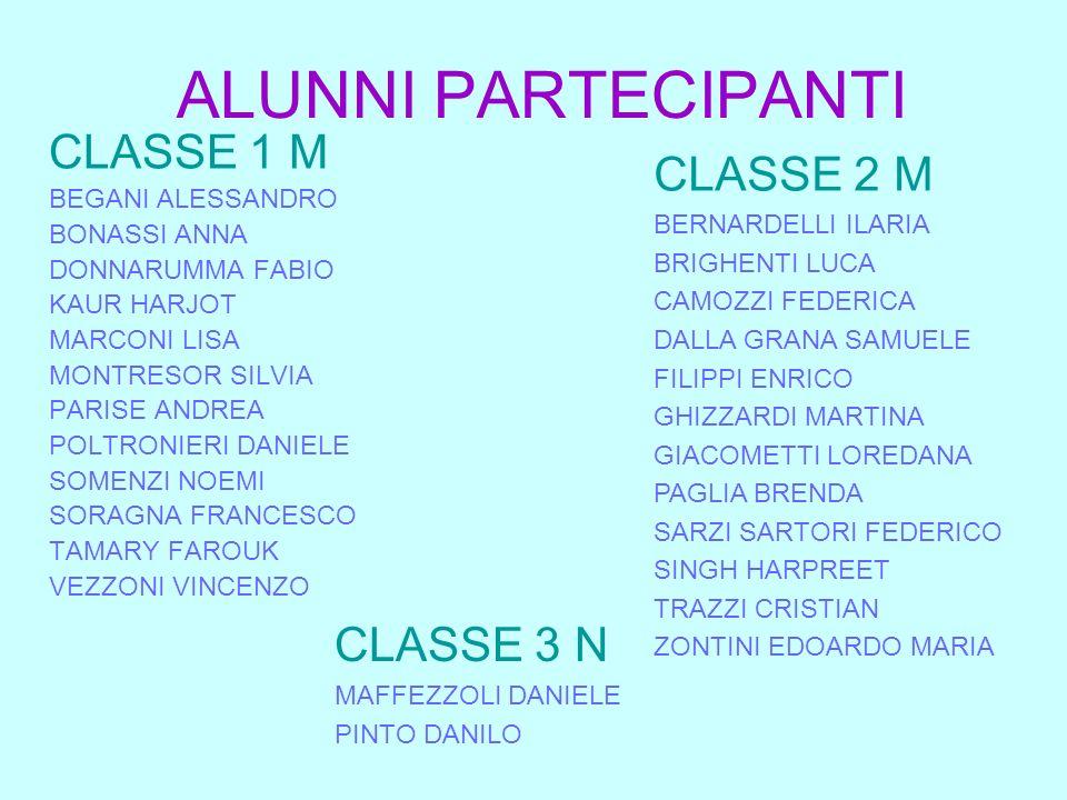 ALUNNI PARTECIPANTI CLASSE 1 M CLASSE 2 M CLASSE 3 N BEGANI ALESSANDRO