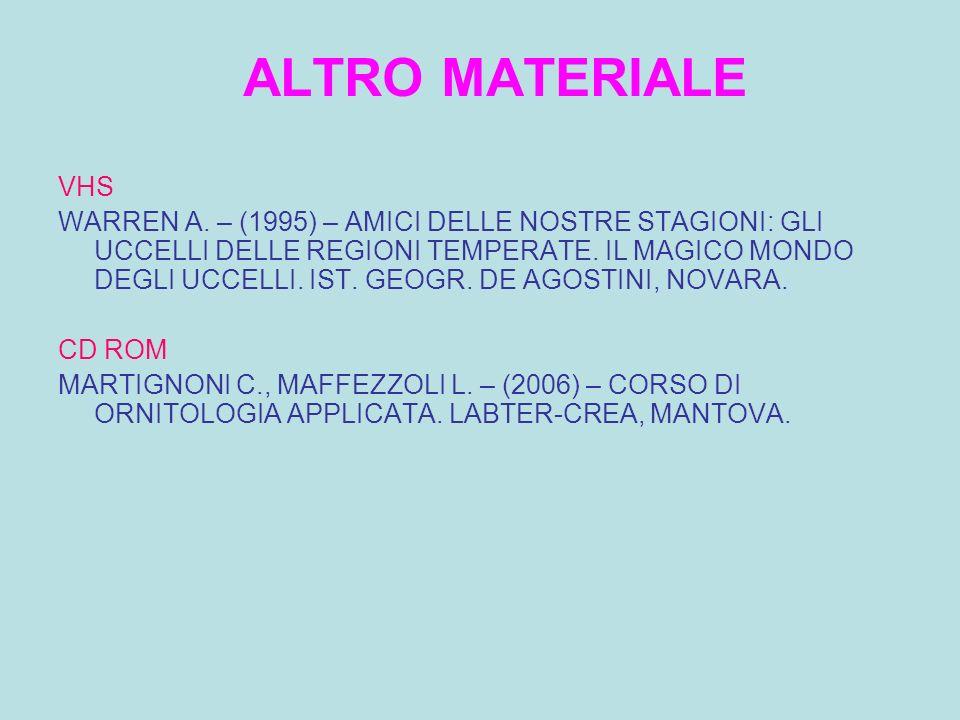 ALTRO MATERIALE VHS.