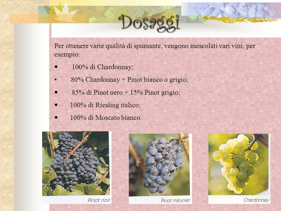 Dosaggi Per ottenere varie qualità di spumante, vengono mescolati vari vini, per esempio: · 100% di Chardonnay;