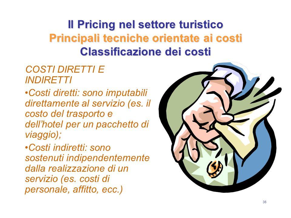 Il Pricing nel settore turistico Principali tecniche orientate ai costi Classificazione dei costi