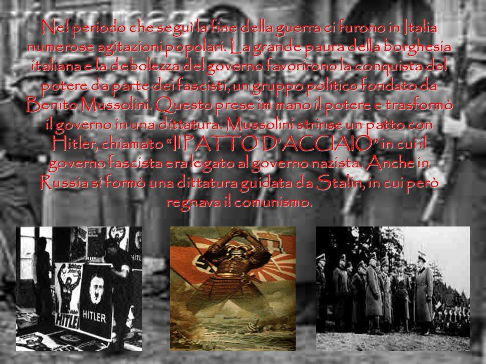 Nel periodo che seguì la fine della guerra ci furono in Italia numerose agitazioni popolari.