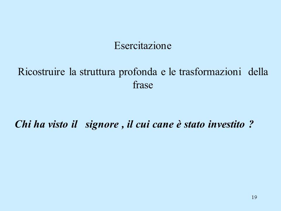 Ricostruire la struttura profonda e le trasformazioni della frase