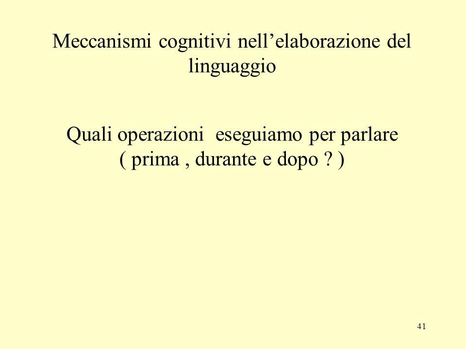 Meccanismi cognitivi nell'elaborazione del linguaggio