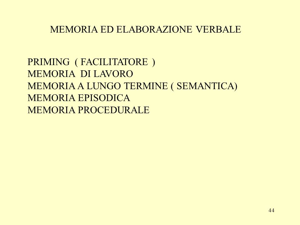 MEMORIA ED ELABORAZIONE VERBALE