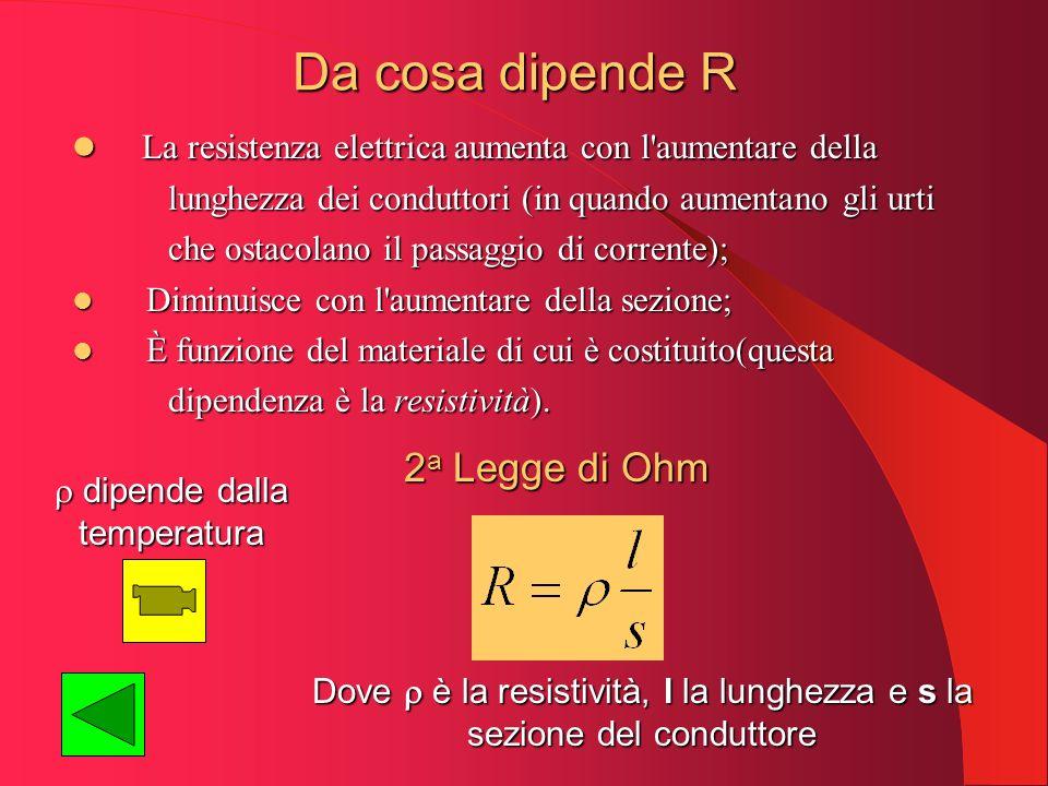 Da cosa dipende R La resistenza elettrica aumenta con l aumentare della. lunghezza dei conduttori (in quando aumentano gli urti.