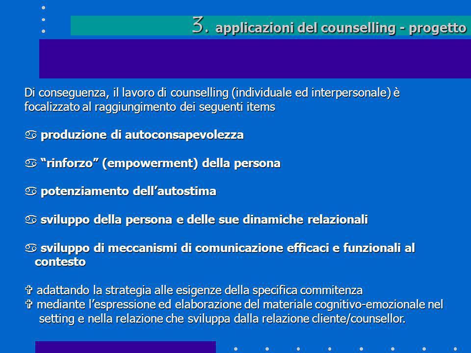 3. applicazioni del counselling - progetto