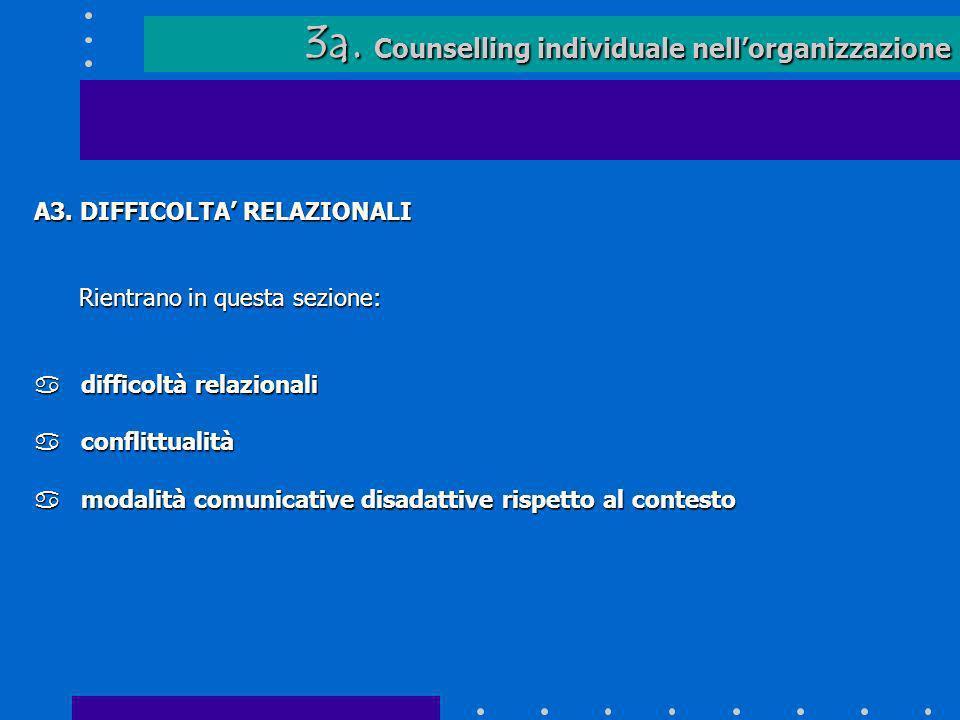 3a. Counselling individuale nell'organizzazione