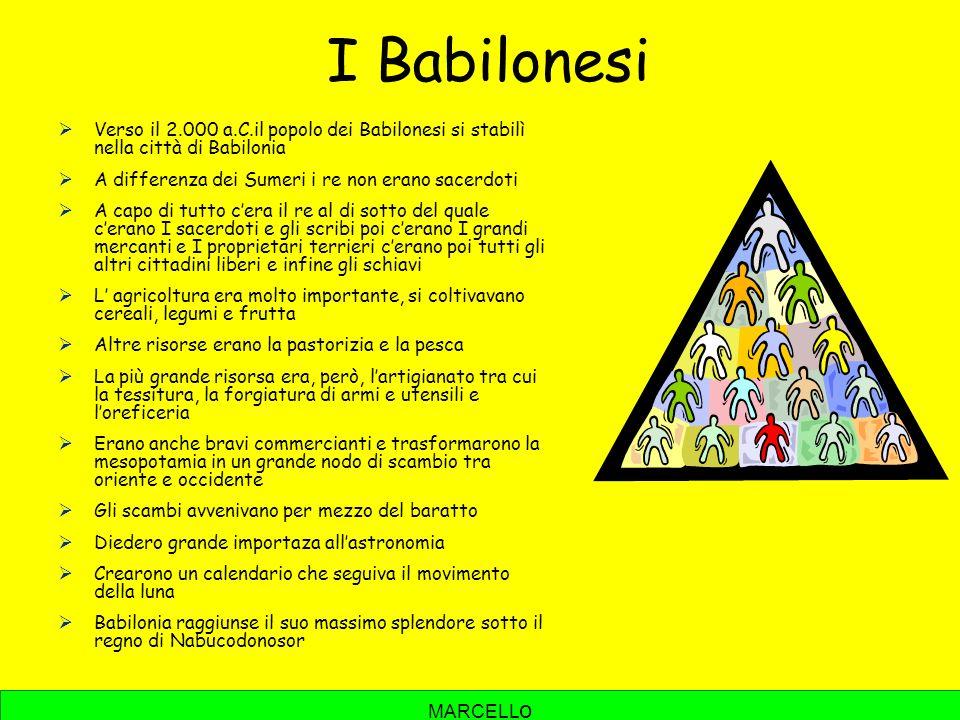 I Babilonesi Verso il 2.000 a.C.il popolo dei Babilonesi si stabilì nella città di Babilonia. A differenza dei Sumeri i re non erano sacerdoti.