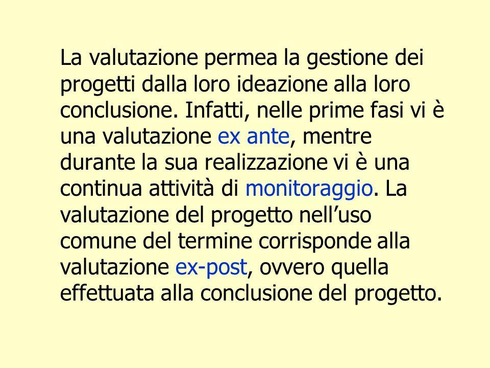 La valutazione permea la gestione dei progetti dalla loro ideazione alla loro conclusione.
