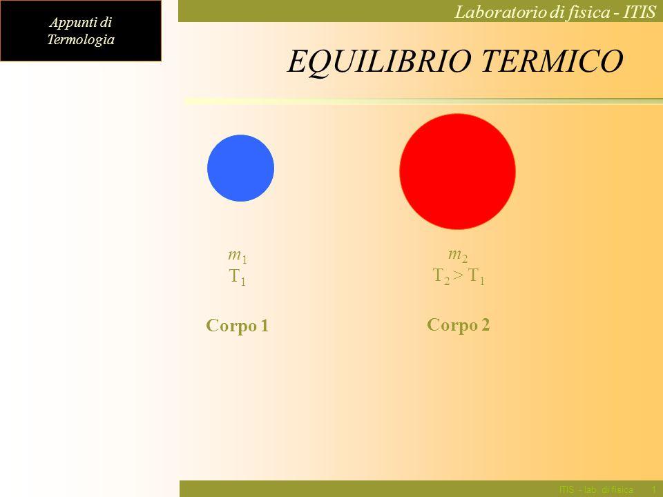 EQUILIBRIO TERMICO m1 T1 m2 T2 > T1 Corpo 1 Corpo 2