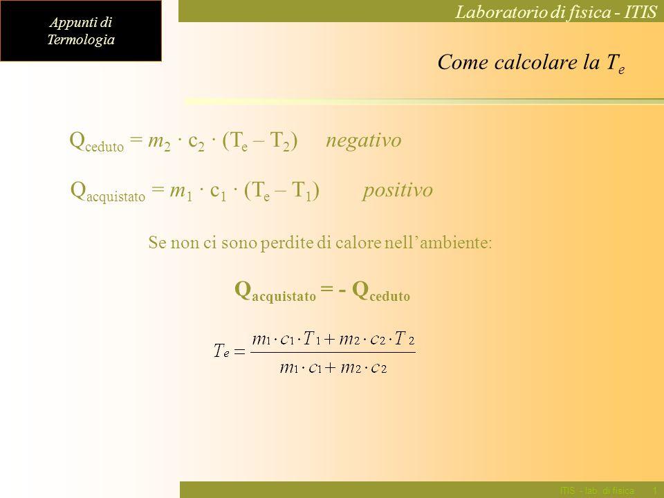 Qceduto = m2 · c2 · (Te – T2) negativo