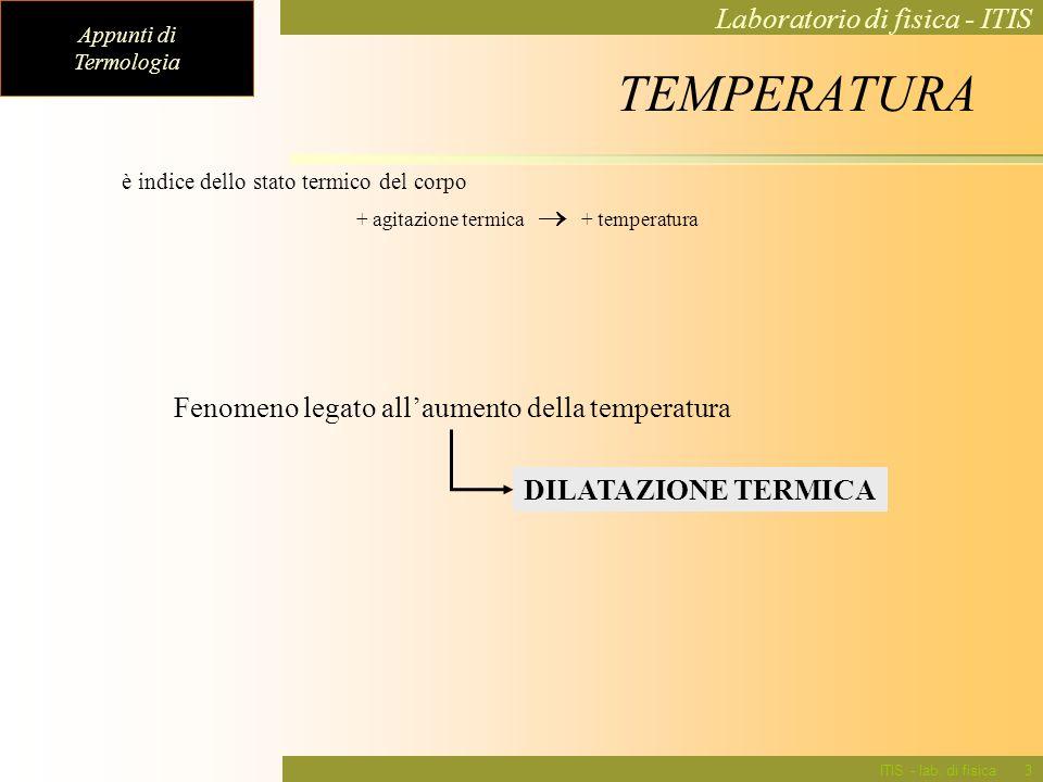 TEMPERATURA Fenomeno legato all'aumento della temperatura