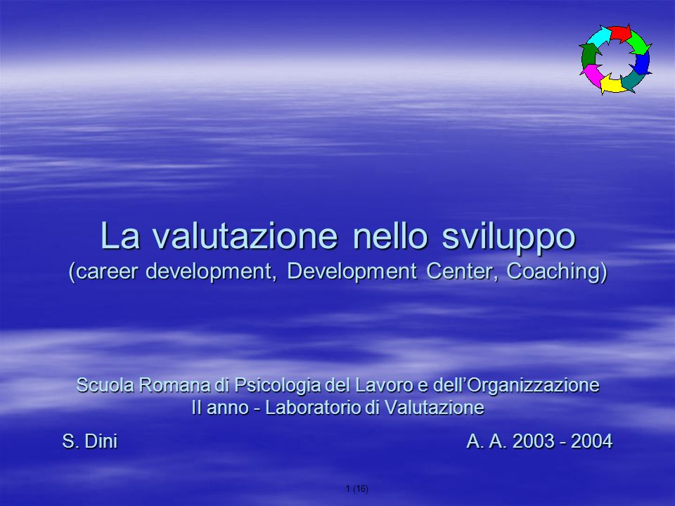 La valutazione nello sviluppo (career development, Development Center, Coaching) Scuola Romana di Psicologia del Lavoro e dell'Organizzazione II anno - Laboratorio di Valutazione S.