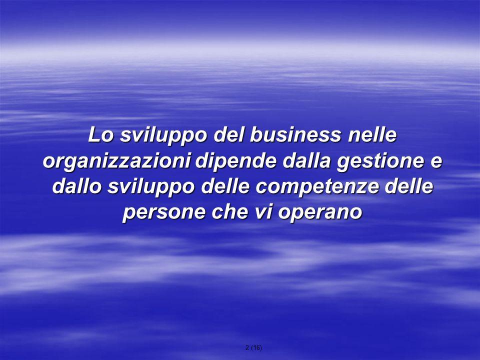 Lo sviluppo del business nelle organizzazioni dipende dalla gestione e dallo sviluppo delle competenze delle persone che vi operano