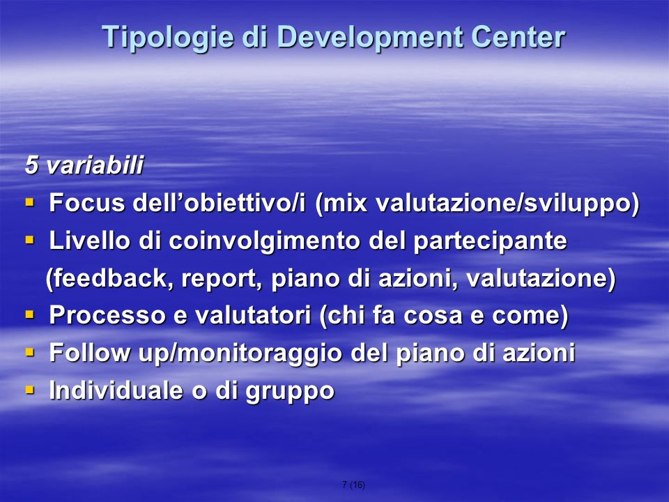 Tipologie di Development Center