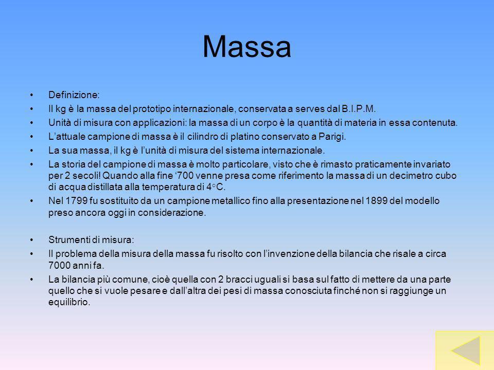 Massa Definizione: Il kg è la massa del prototipo internazionale, conservata a serves dal B.I.P.M.