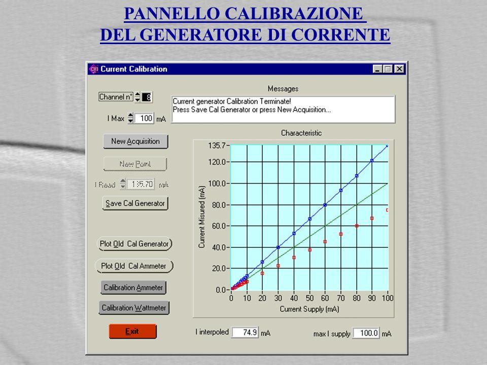 PANNELLO CALIBRAZIONE DEL GENERATORE DI CORRENTE