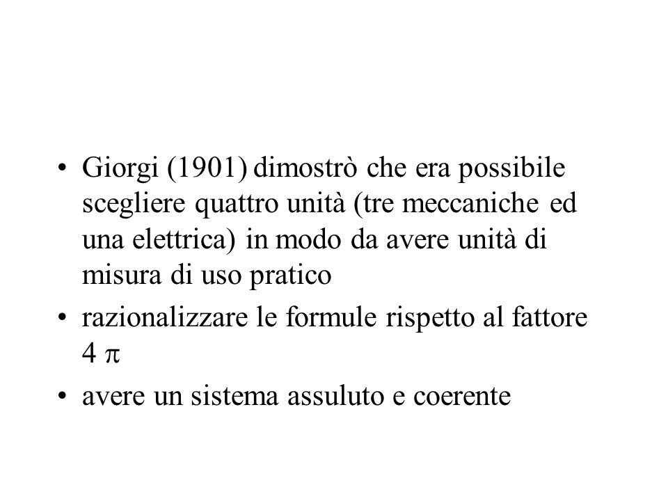 Giorgi (1901) dimostrò che era possibile scegliere quattro unità (tre meccaniche ed una elettrica) in modo da avere unità di misura di uso pratico