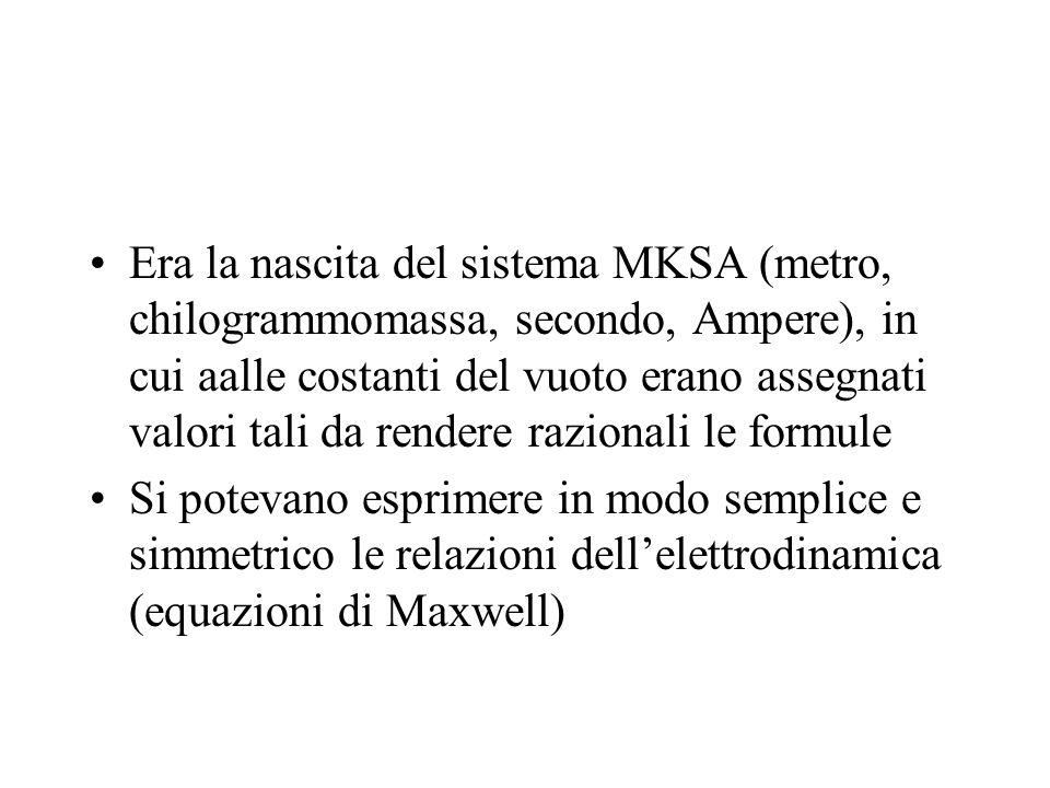 Era la nascita del sistema MKSA (metro, chilogrammomassa, secondo, Ampere), in cui aalle costanti del vuoto erano assegnati valori tali da rendere razionali le formule