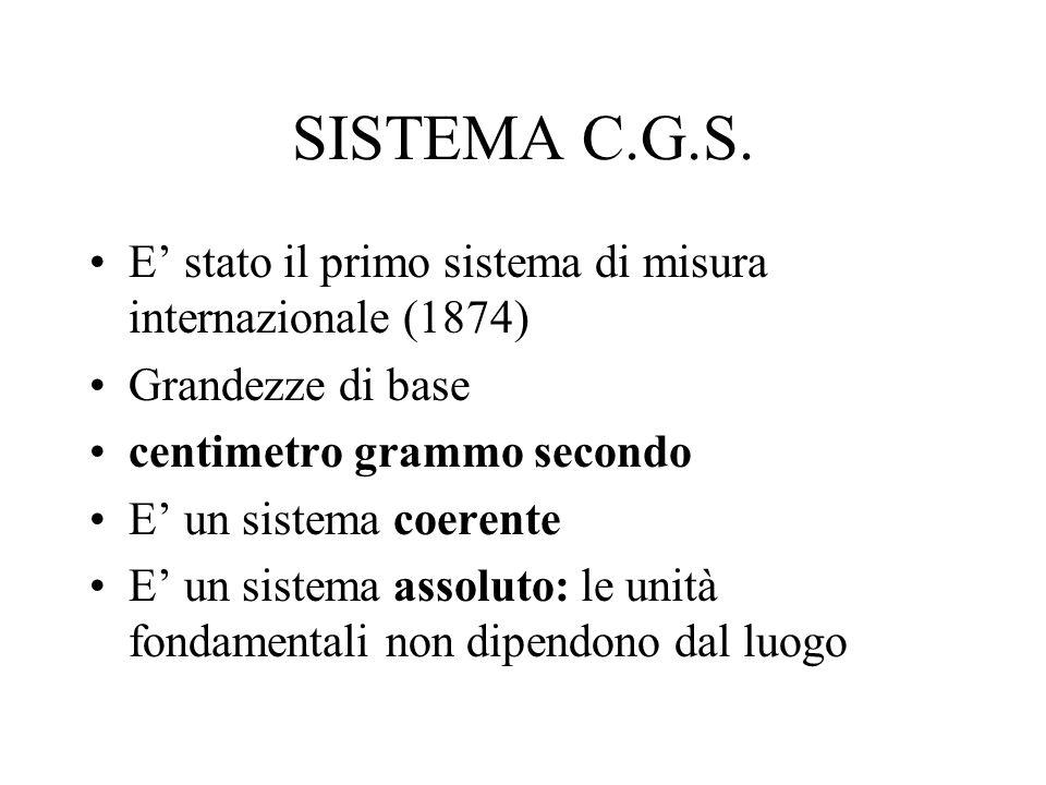 SISTEMA C.G.S. E' stato il primo sistema di misura internazionale (1874) Grandezze di base. centimetro grammo secondo.