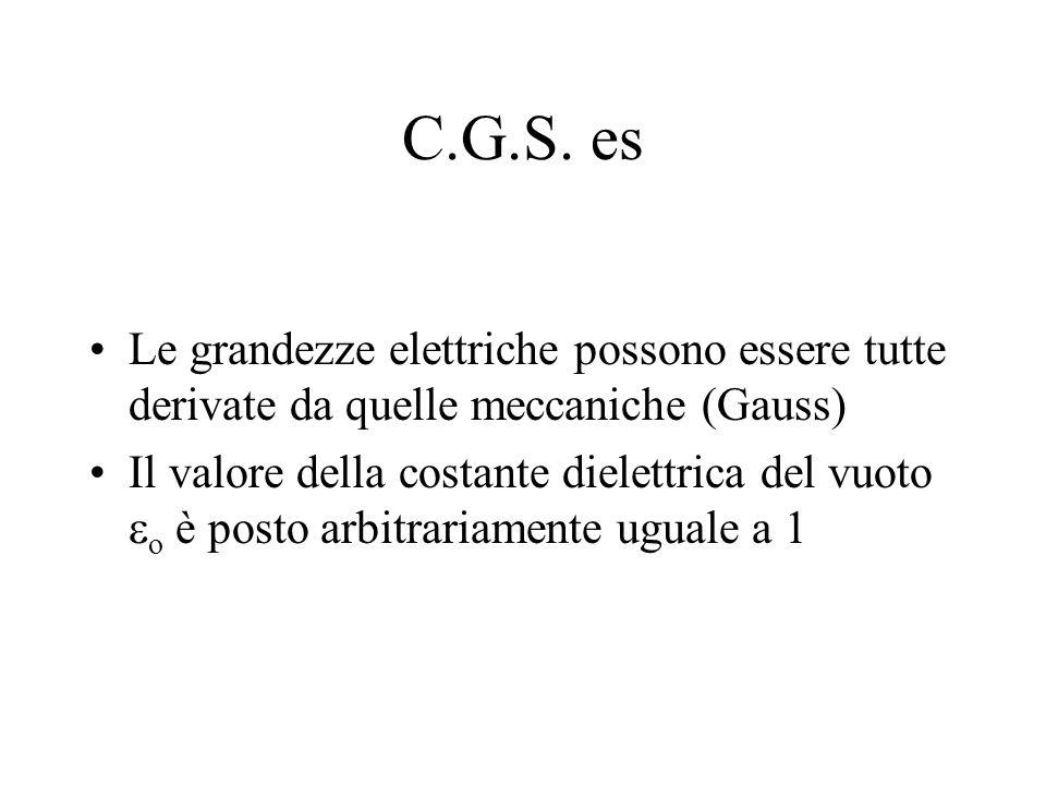 C.G.S. es Le grandezze elettriche possono essere tutte derivate da quelle meccaniche (Gauss)