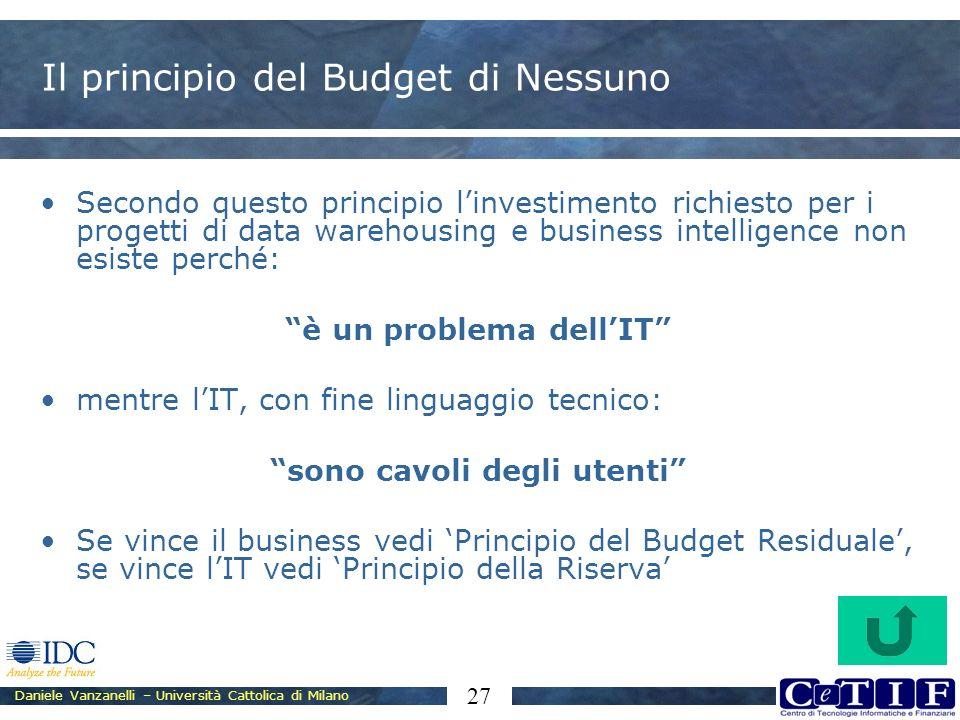 Il principio del Budget di Nessuno