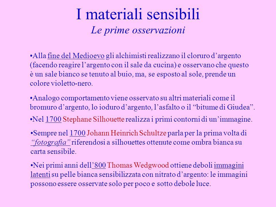 I materiali sensibili Le prime osservazioni