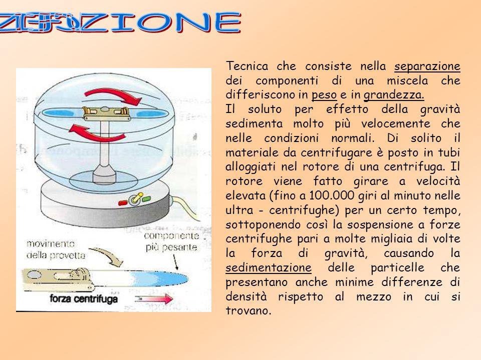 CENTRIFUGAZIONE Tecnica che consiste nella separazione dei componenti di una miscela che differiscono in peso e in grandezza.