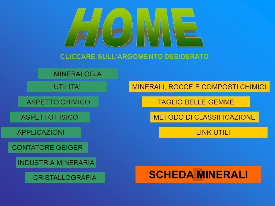 HOME SCHEDA MINERALI CLICCARE SULL'ARGOMENTO DESIDERATO MINERALOGIA